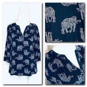 Navy Blue Elephant Print Blouse